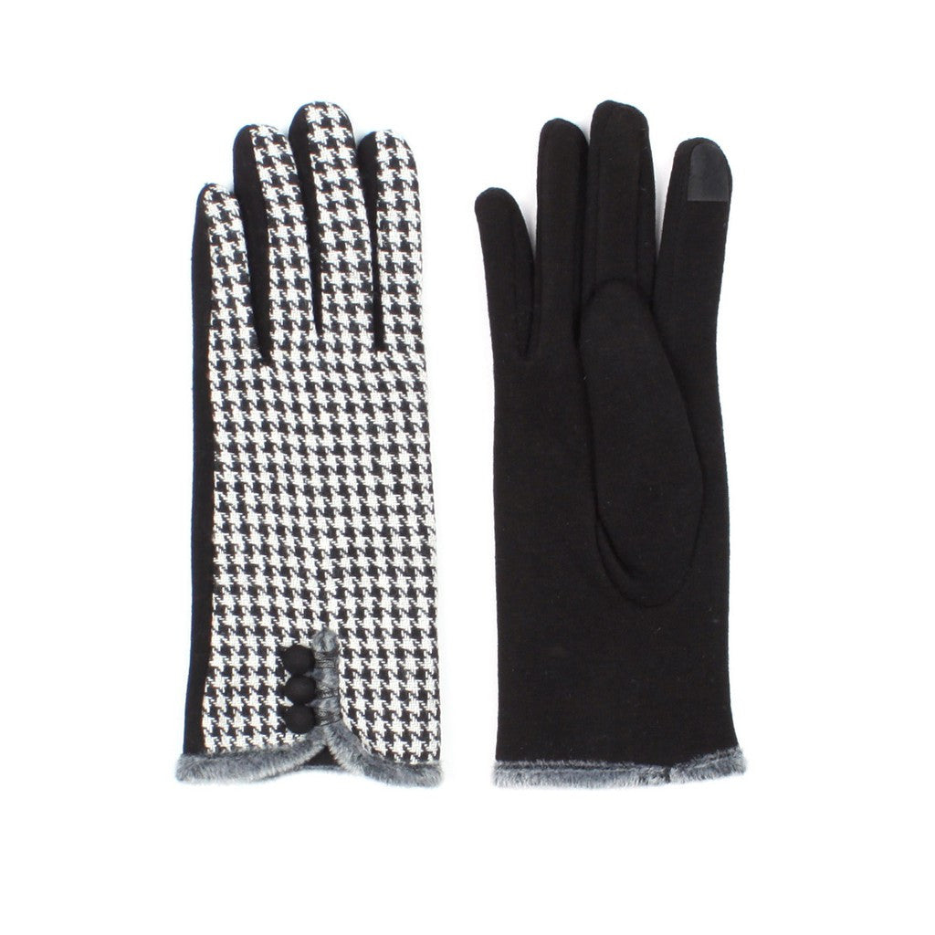 Womens Houndstooth Lined Texting Gloves - Stylemindchic Boutique - Curated Collections - 1