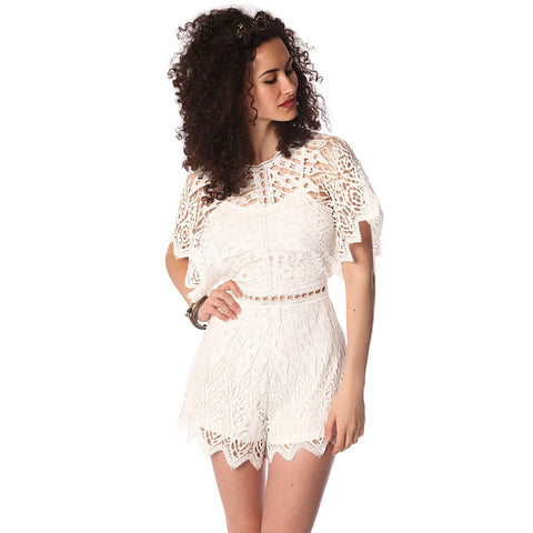 White Crochet Romper by Q2 Store - Spain