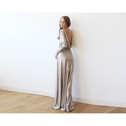 Gold Backless maxi dress with long sleeves - Stylemindchic Boutique - Curated Collections - 2