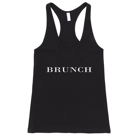 """Brunch"" Brit Typography Racerback Tank Top - AvaWilde  USA"