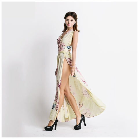 """Rosa"" Beige Floral Print Maxi Dress - Evelyn Belluci"