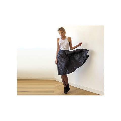 Metallic black midi skirt with pockets - Stylemindchic Boutique - Curated Collections - 1