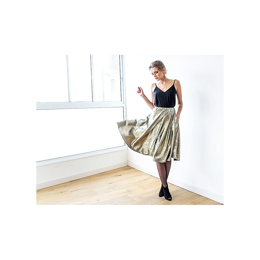 Metallic gold midi skirt with pockets - Stylemindchic Boutique - Curated Collections - 4
