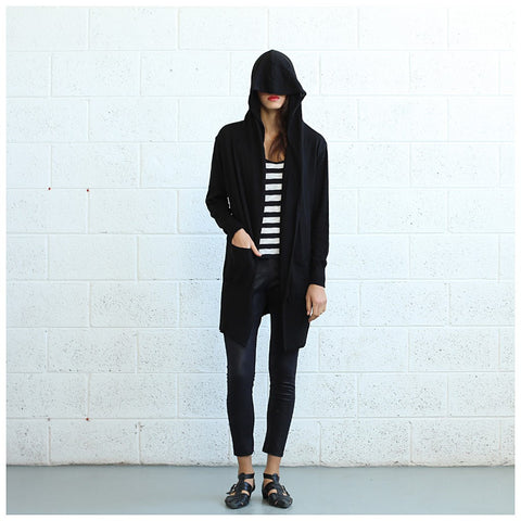 Long Knitted Cardigan- Black