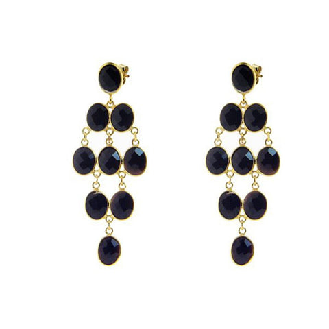 Fronay Collection Oval Onyx Chandelier Earrings 18k Gold Pl Silver, 2.5 - Stylemindchic Boutique - Curated Collections