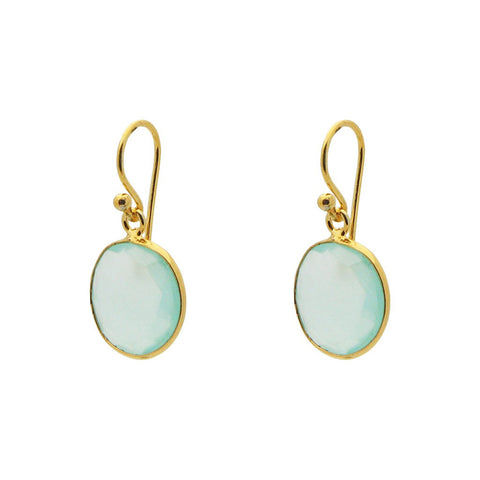 """Chloe"" Small Round Milky Blue-Green Chalcedony Earrings - Fronay - Miami"