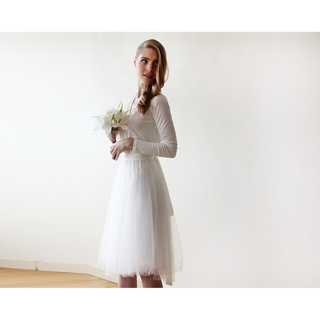 Ivory midi tulle dress with long sleeves - Stylemindchic Boutique - Curated Collections - 5