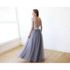 Backless Silver and grey sequins sleeveless maxi tulle Dress - Stylemindchic Boutique - Curated Collections - 3