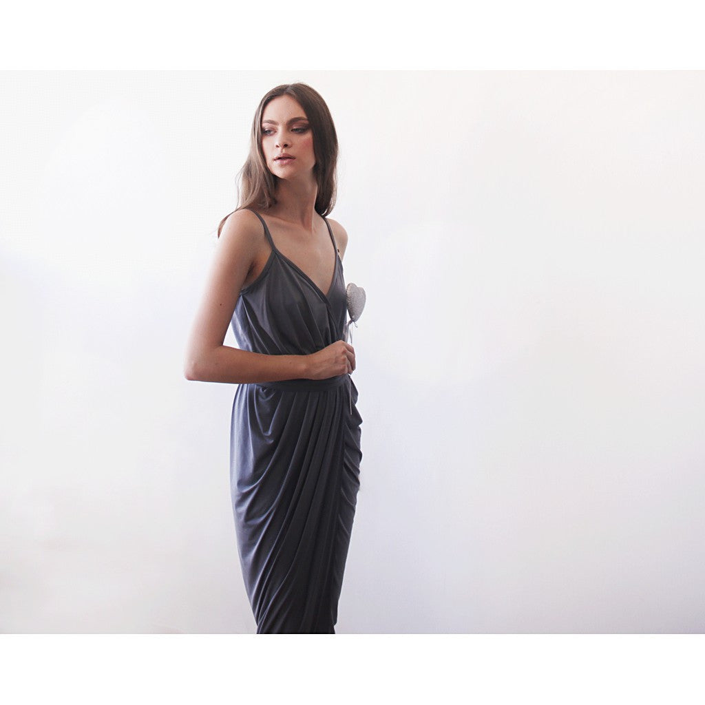Grey Wrap maxi dress - Stylemindchic Boutique - Curated Collections - 3