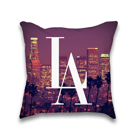 LA Downtown DTLA Skyline Typography Throw Pillow