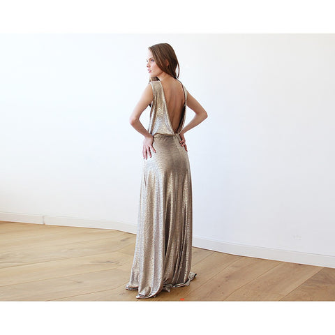 Gold Backless maxi dress sleeveless - Stylemindchic Boutique - Curated Collections - 1