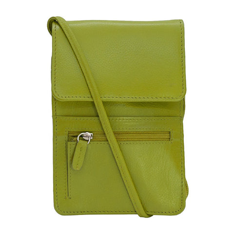 Leather Organizer on a String - Moss Green