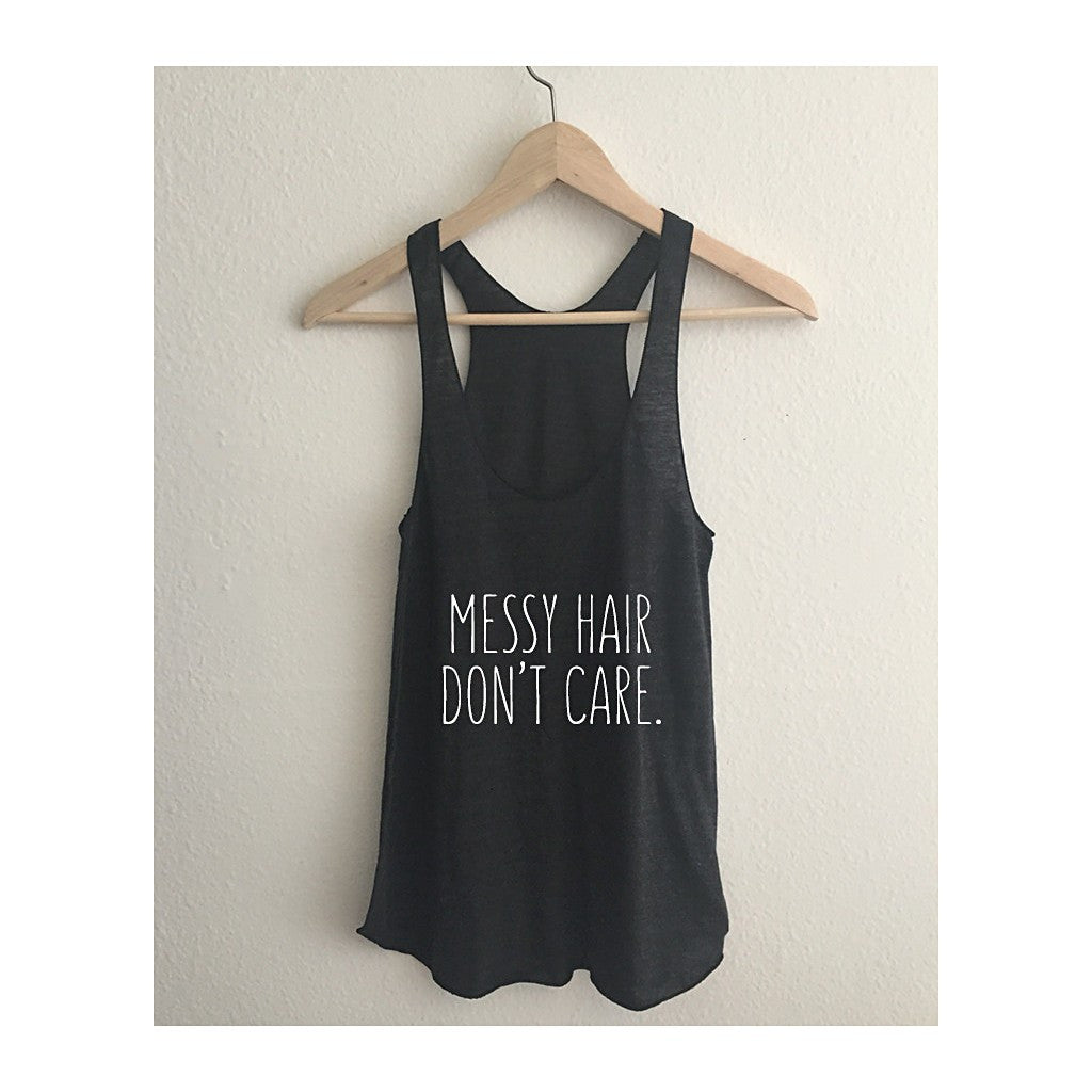 """Messy Hair Don't Care""  Typography Tri Blend Athletic Racerback Tank Top - AvaWilde"