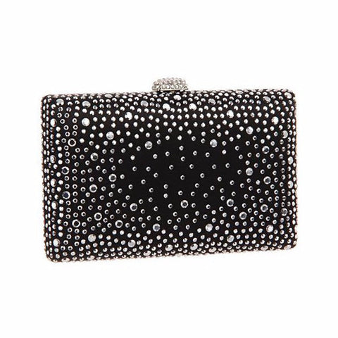 Fabienne - Black Clutch with Crystals