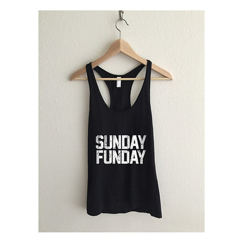"""Sunday Funday""  -Sheer Jersey Racerback Tank Top - AvaWilde LA"