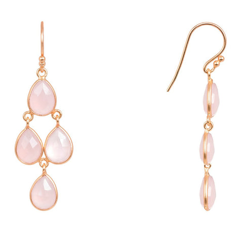 Mini Cascade Earring Rosegold Rose Quartz - Stylemindchic Boutique - Curated Collections - 1