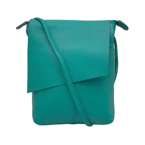 Leather Rawhide Flap Crossbody Bag - Aqua