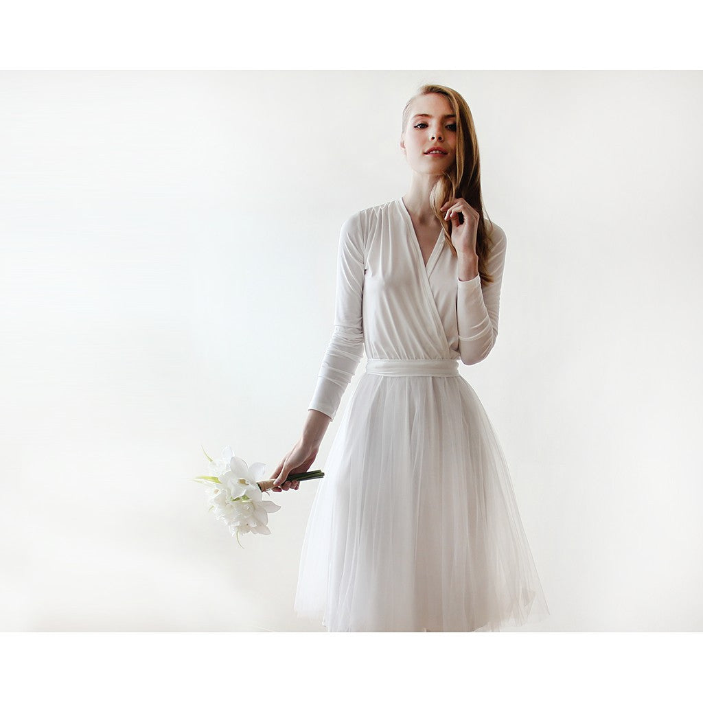 Ivory midi tulle dress with long sleeves - Stylemindchic Boutique - Curated Collections - 3