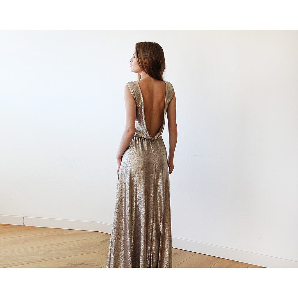 Gold Backless maxi dress sleeveless - Stylemindchic Boutique - Curated Collections - 5