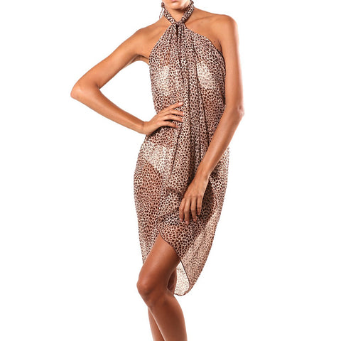 """Carmel"" Brown Cheetah Print Sarong by Beach Glam"
