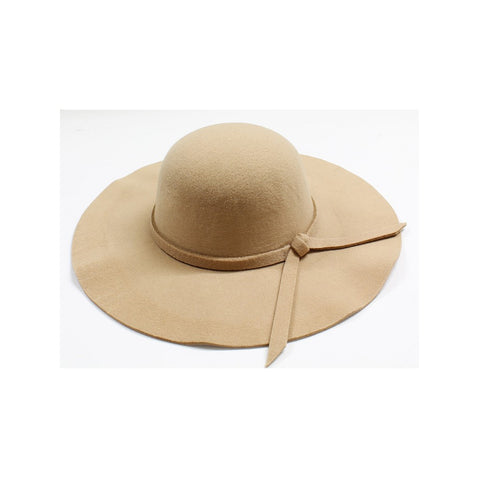 Womens Wide Brim Camel Floppy Felt Hat with Matching Tie - Stylemindchic Boutique - Curated Collections