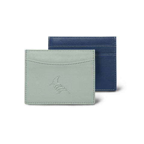 Blue  Leather CardHolder Two Toned- Skimmer