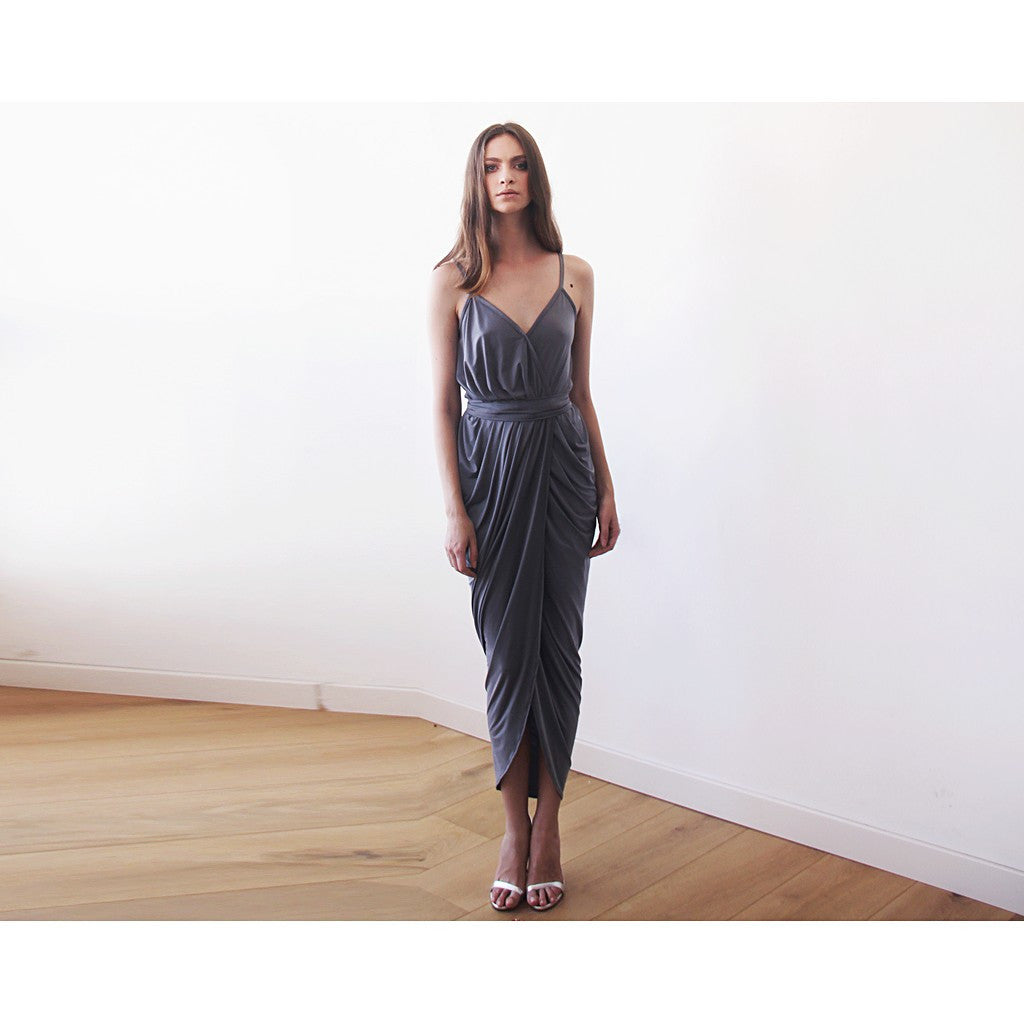 Grey Wrap maxi dress - Stylemindchic Boutique - Curated Collections - 1