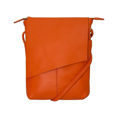 Leather Rawhide Flap Crossbody Bag - Orange by ILI
