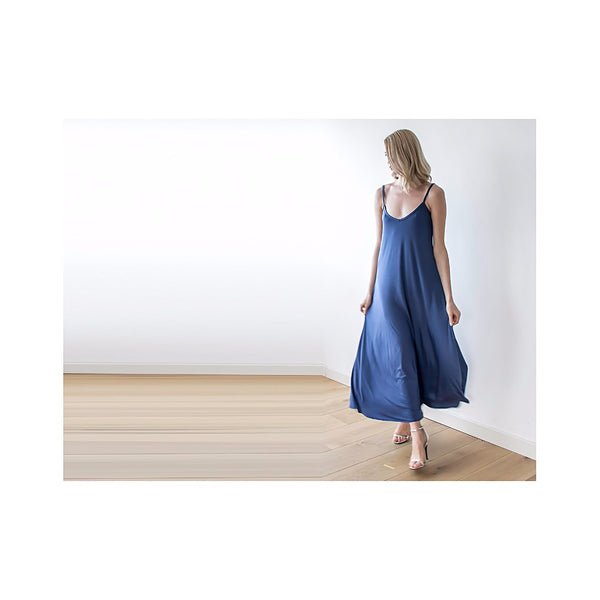 Blue Maxi casual dress with thin straps