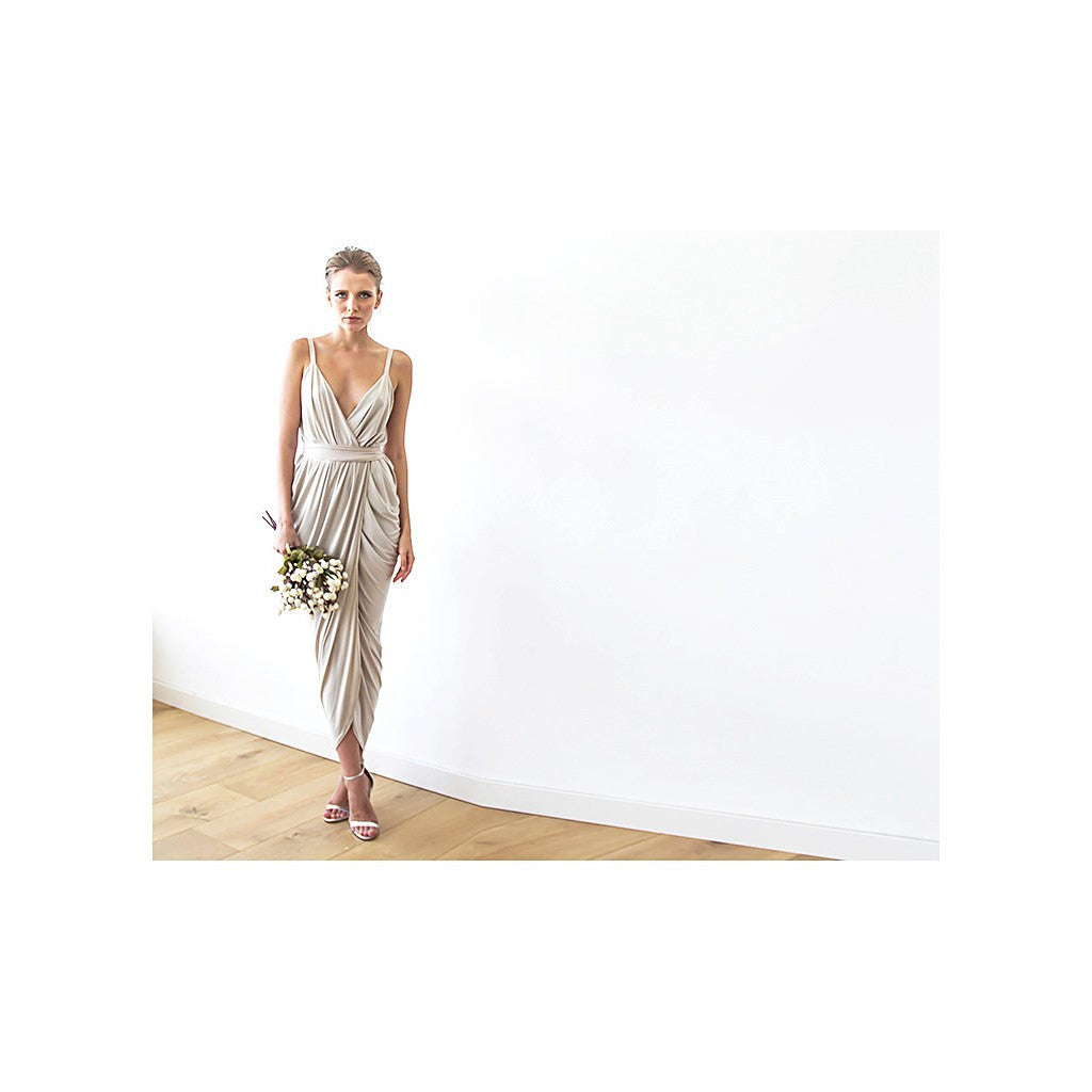 Champagne maxi tulip wrap dress - Stylemindchic Boutique - Curated Collections - 3
