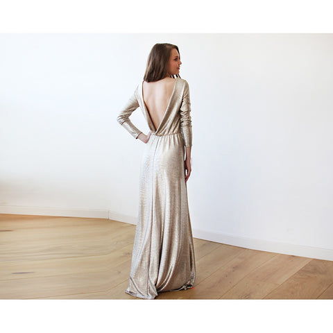 Light Gold Backless maxi dress with long sleeves - Stylemindchic Boutique - Curated Collections - 1