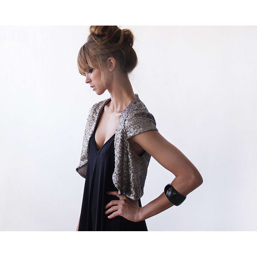 Glamorous sparkling silver sequin bolero - Stylemindchic Boutique - Curated Collections - 4