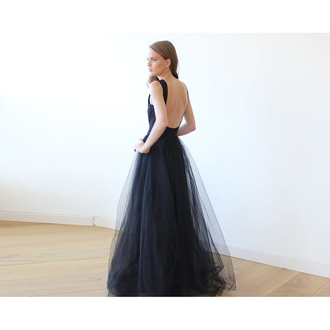 Backless Black sleeveless maxi tulle Dress - Stylemindchic Boutique - Curated Collections - 2