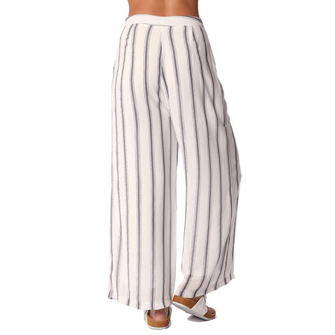 White wide leg pants in vertical mono stripe