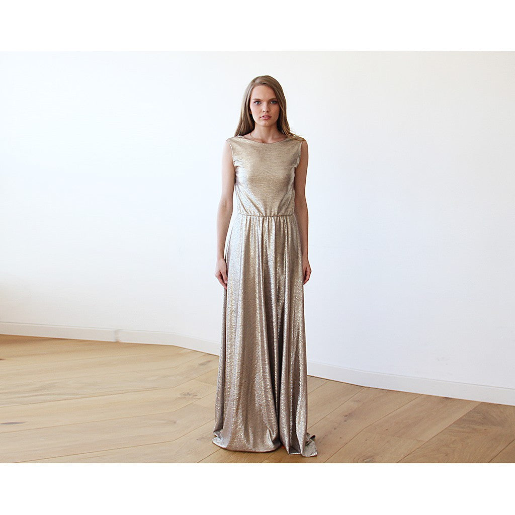 Gold Backless maxi dress sleeveless - Stylemindchic Boutique - Curated Collections - 6