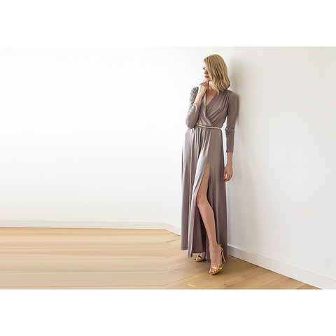 Taupe long sleeve maxi wrap dress with high slit - Stylemindchic Boutique - Curated Collections - 2