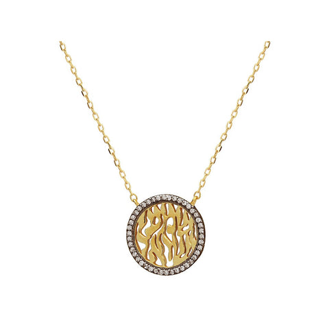 "Silver Gold Plated & Black Rhodium Cz Mini shema Necklace 15.5""+ 2"""