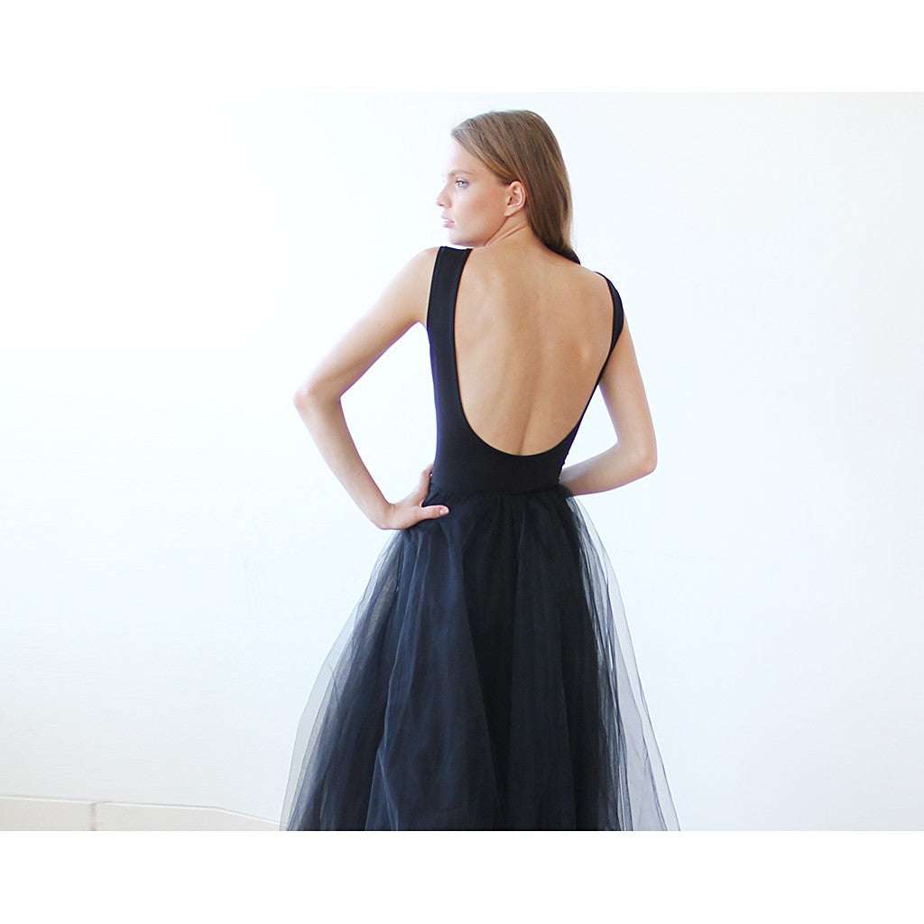 Backless Black sleeveless maxi tulle Dress - Stylemindchic Boutique - Curated Collections - 3