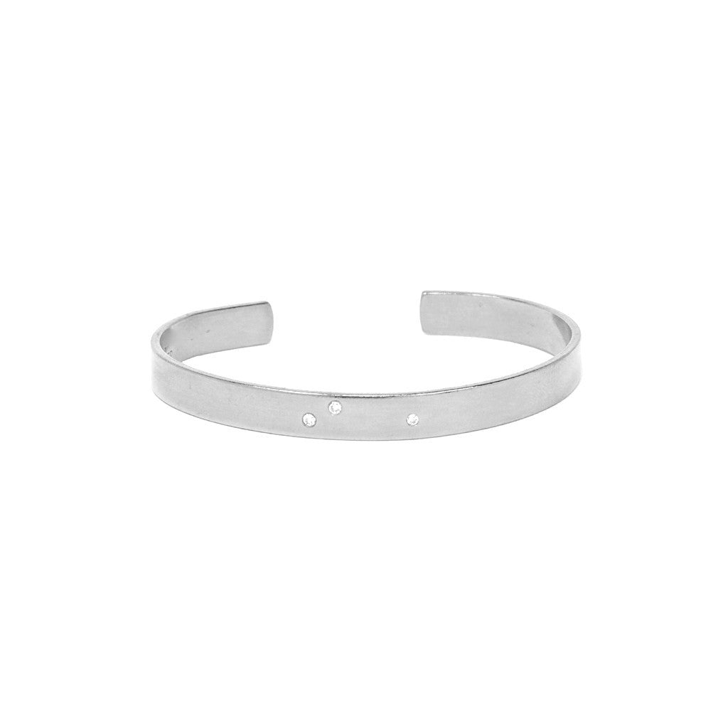 Silver Cuff With 3 Diamonds - Stylemindchic Boutique - Curated Collections - 1