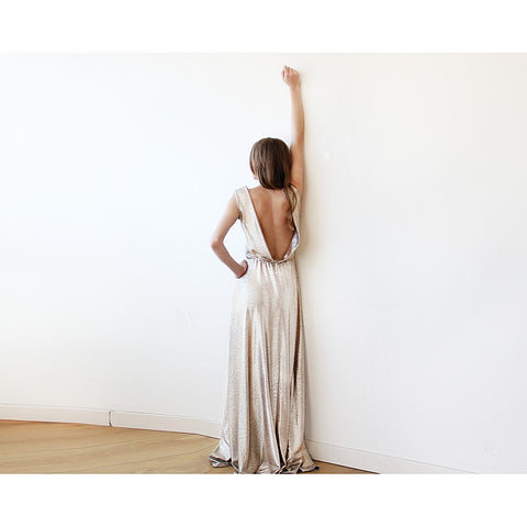 Light Gold Backless maxi dress sleeveless - Stylemindchic Boutique - Curated Collections - 2