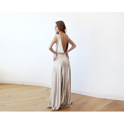 Light Gold Backless maxi dress sleeveless - Stylemindchic Boutique - Curated Collections - 1