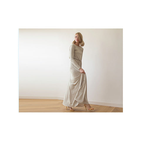 Backless champagne maxi dress with long sleeves - Stylemindchic Boutique - Curated Collections - 2