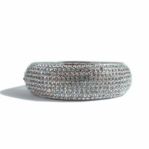 Izoa 9 row crystal bangle sliver clear - Stylemindchic Boutique - Curated Collections