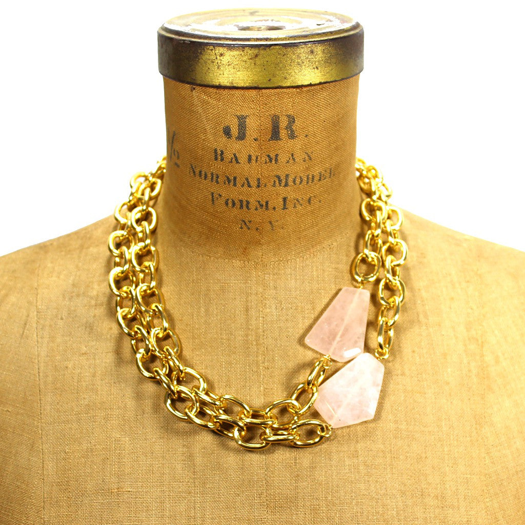 """Natali""  Miss Luxe Necklace in Rose Quartz - Manic Trout in Austin"