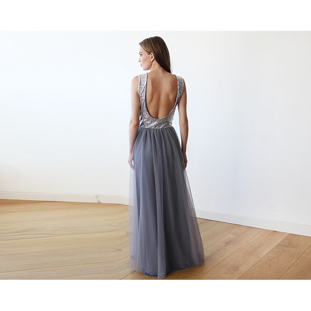 Backless Silver and grey sequins sleeveless maxi tulle Dress - Stylemindchic Boutique - Curated Collections - 2
