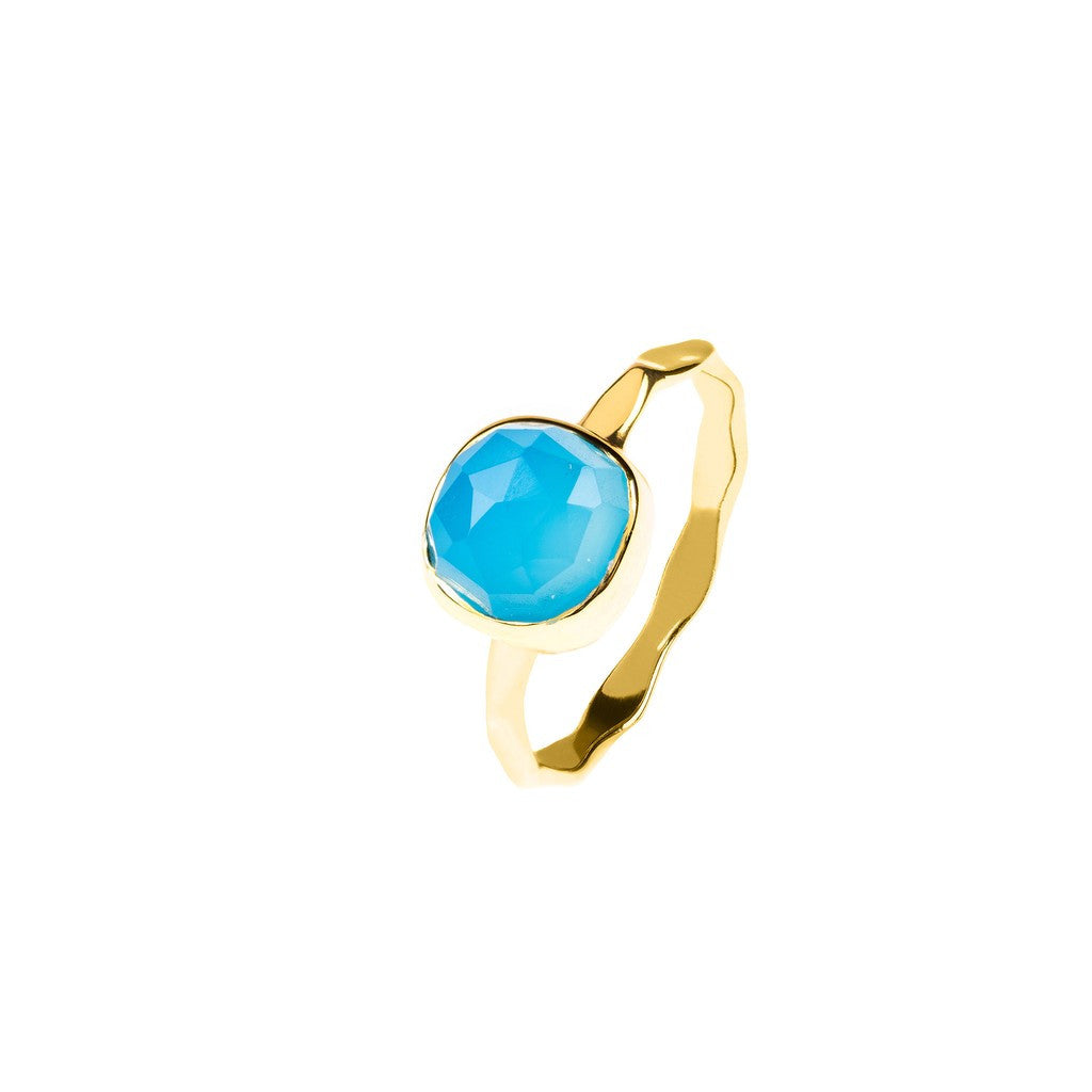 Gold Stacking Ring Blue Chalcedony - Stylemindchic Boutique - Curated Collections