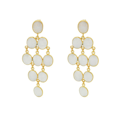 Fronay Collection Oval Moon Stone Chandelier Earrings 18k Gold Pl Silver, 2.5