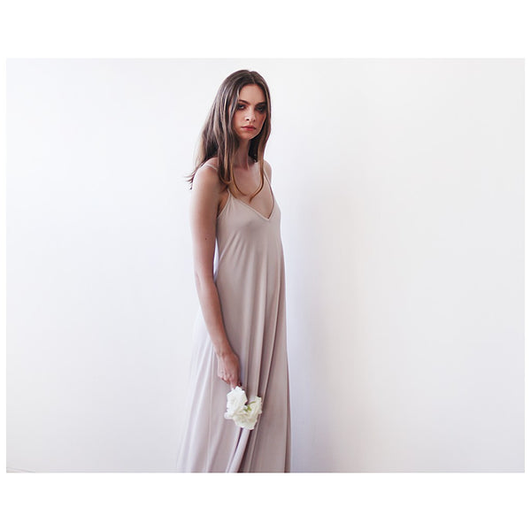 Champagne Slip Dress - Maxi -BlushFashion