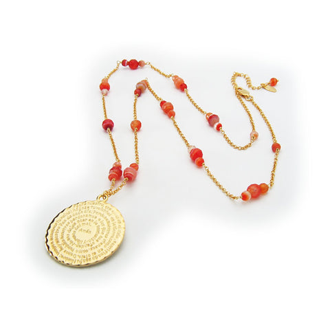"Silver Gold Plated 25""+2"" Carnelians Beads ""Padre Nuestro"" Medallion Necklace - Stylemindchic Boutique - Curated Collections"