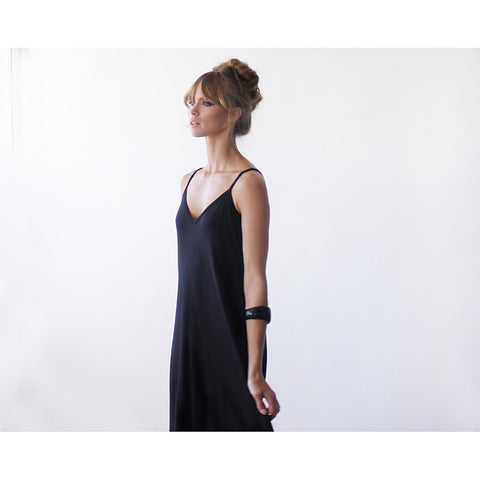 Black Maxi casual dress with thin straps - Stylemindchic Boutique - Curated Collections - 2